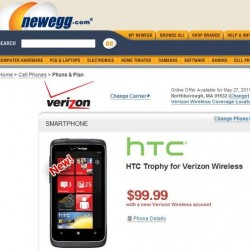 Verizon HTC Trophy Now Being Sold For $99.99 On Newegg