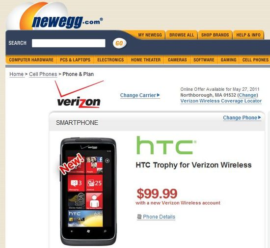 Verizon HTC 7 Trophy